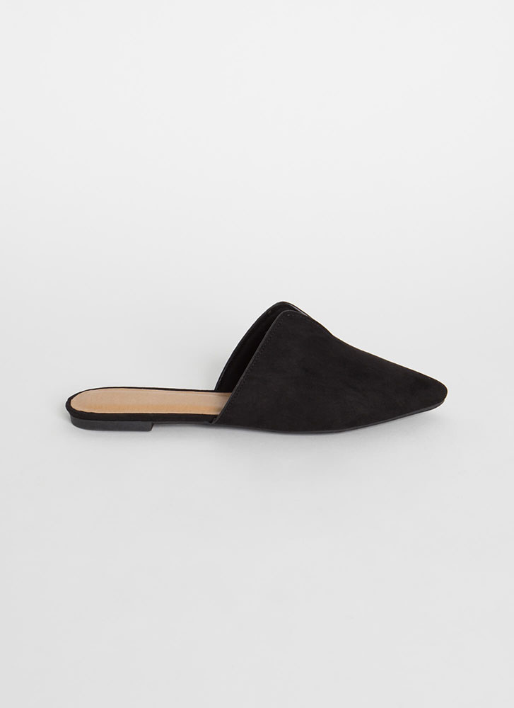 Notch Above Pointy Faux Suede Mule Flats BLACK (Final Sale)
