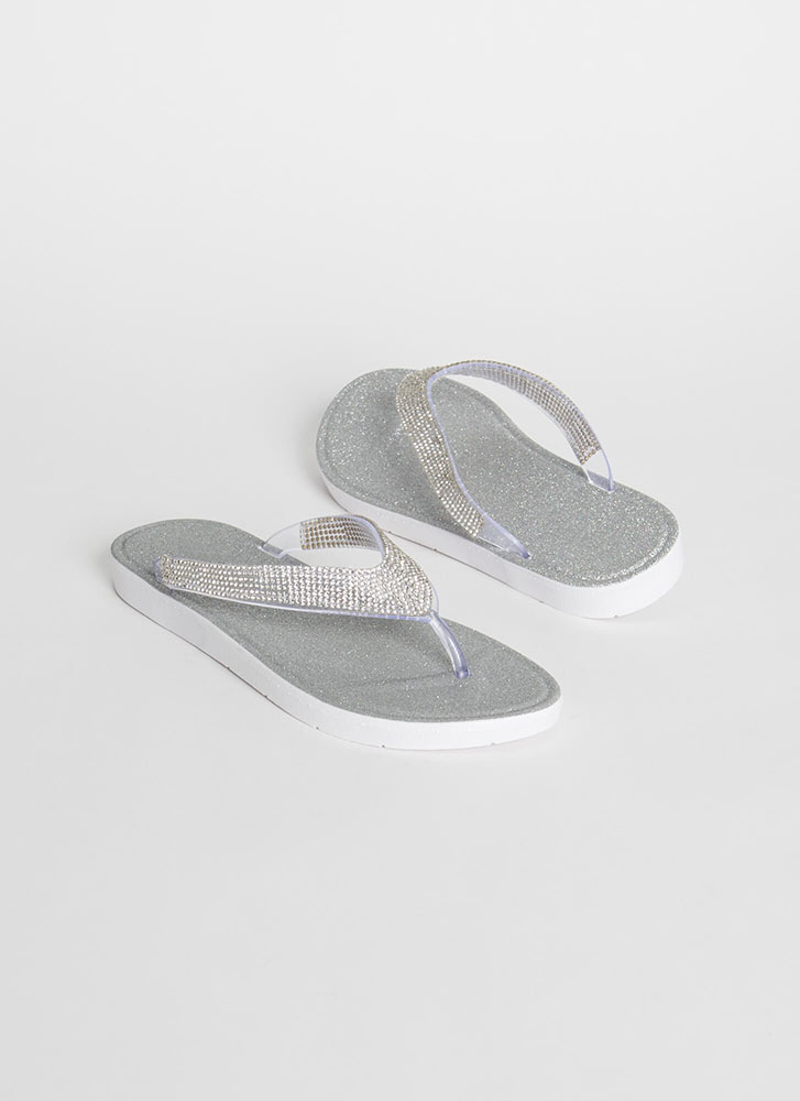 Glitter And Gems Jeweled Thong Sandals CLEAR