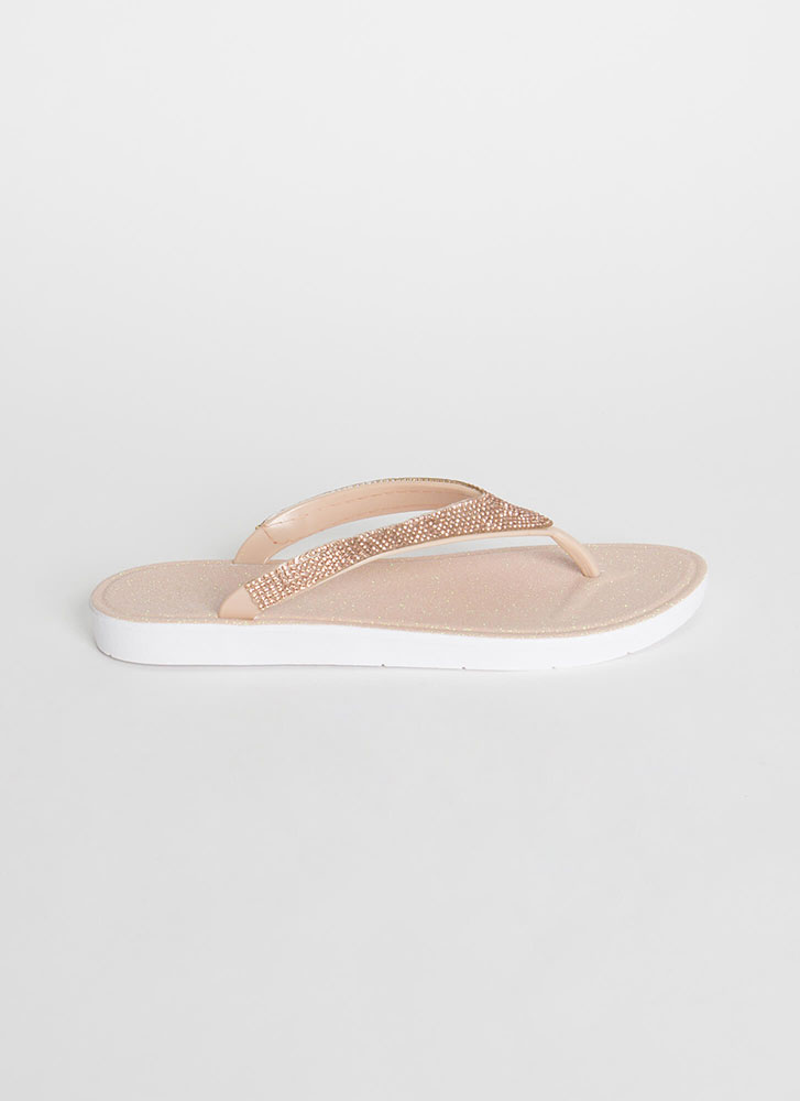 Glitter And Gems Jeweled Thong Sandals NUDE