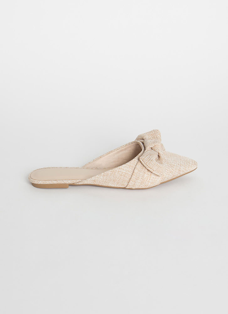 Bow And Get 'Em Pointy Linen Mule Flats BEIGE