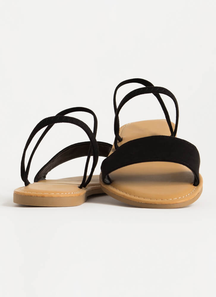 Waterfront Strappy Faux Suede Sandals BLACK