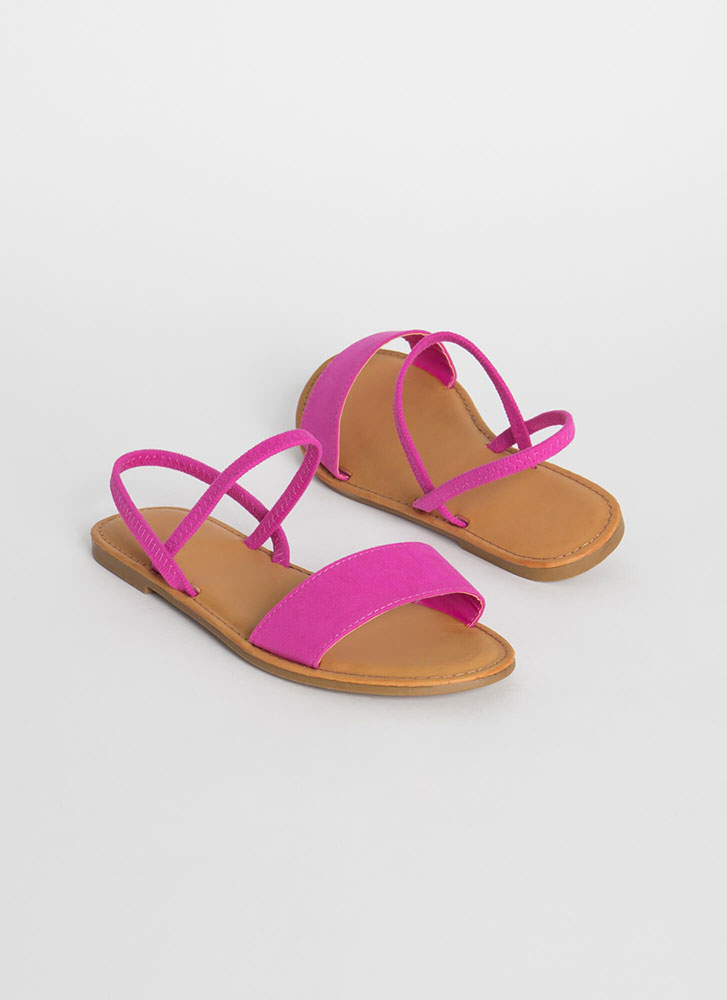 Waterfront Strappy Faux Suede Sandals HOTPINK