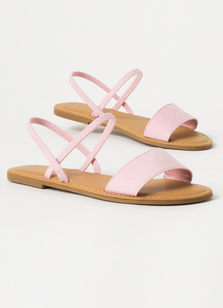 Waterfront Strappy Faux Suede Sandals PINK