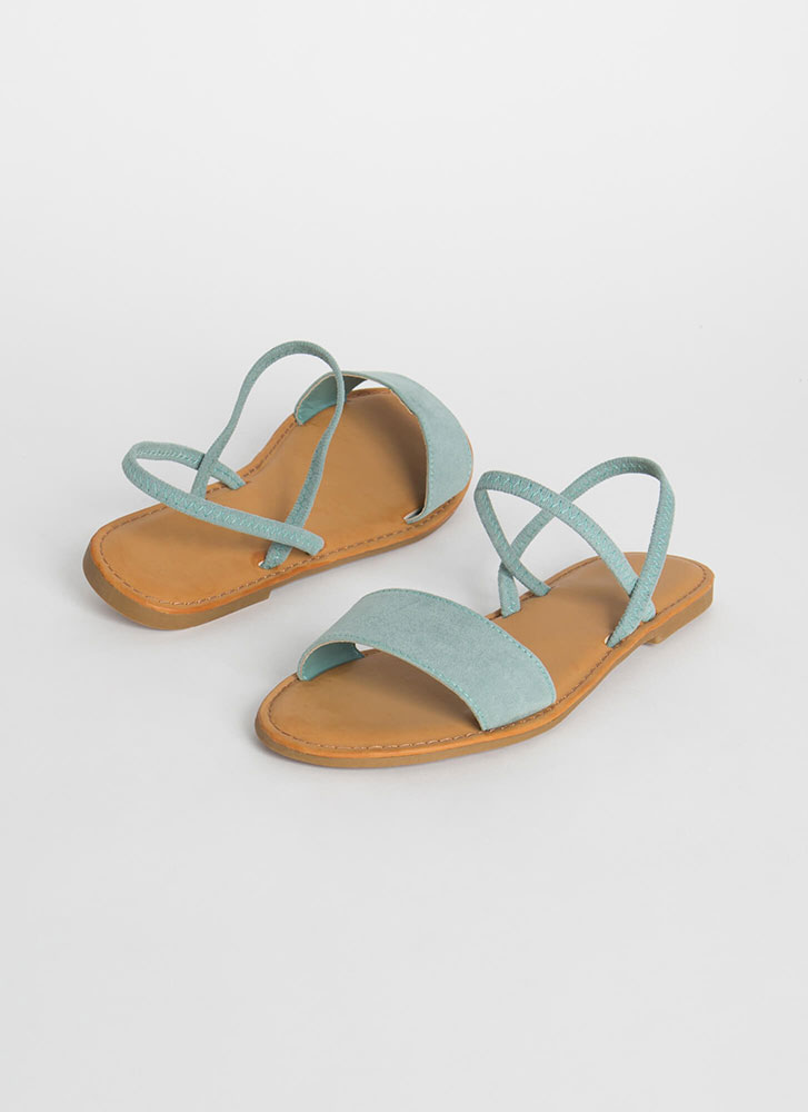 Waterfront Strappy Faux Suede Sandals SAGE