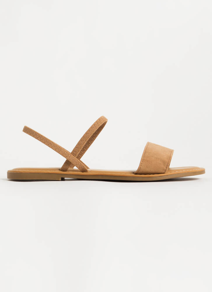 Waterfront Strappy Faux Suede Sandals TAN