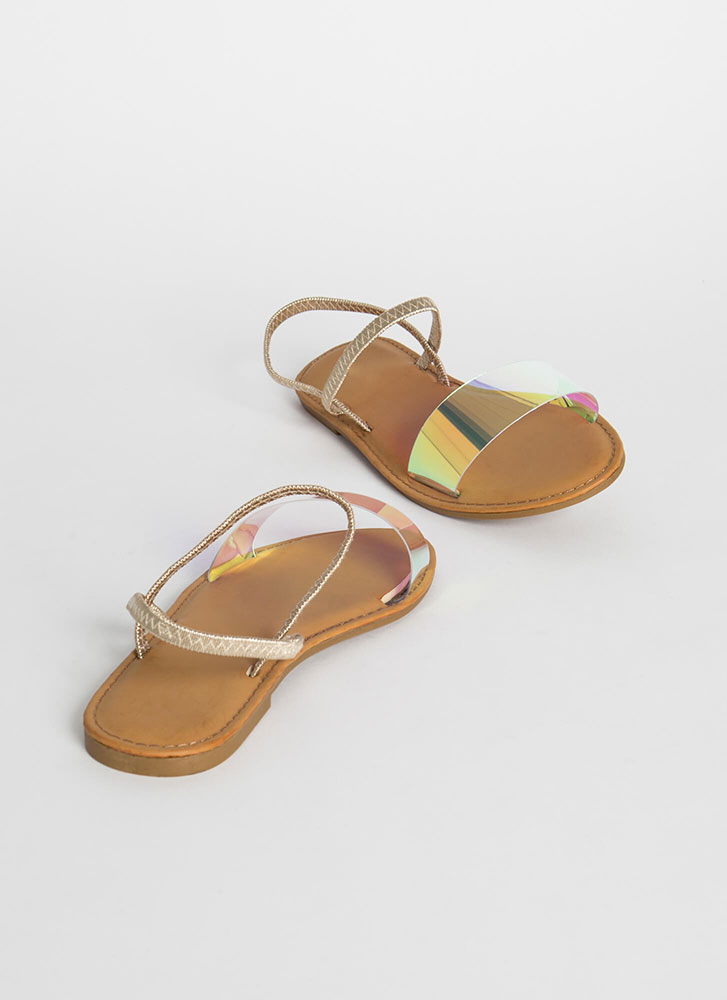 Waterfront Slip-On Clear Strap Sandals IRIDESCENT