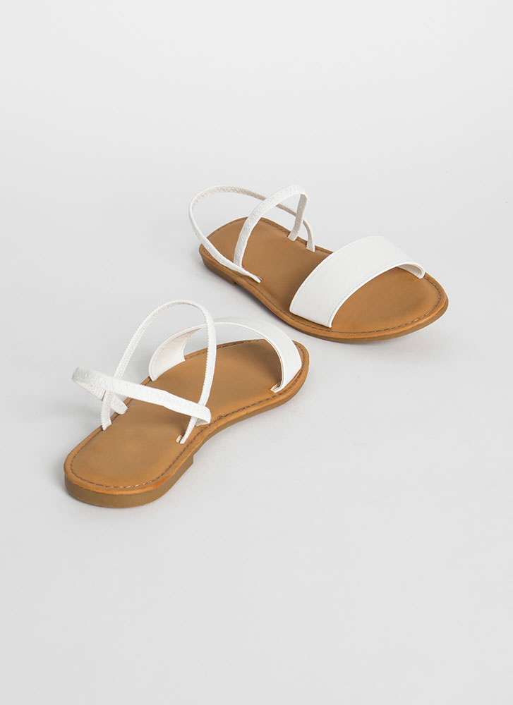 Waterfront Strappy Faux Leather Sandals WHITE