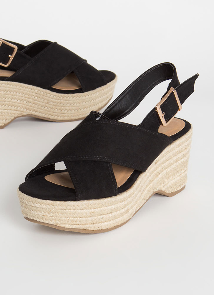 X-Scape To Paradise Braided Wedges BLACK