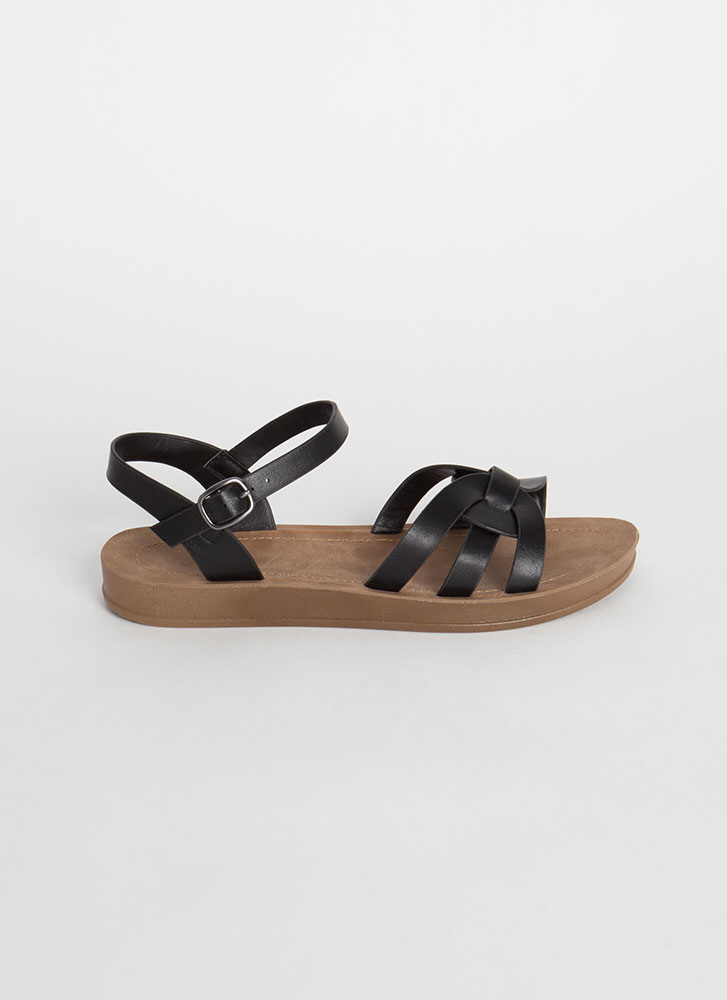 Sunday At The Park Ankle Strap Sandals BLACK