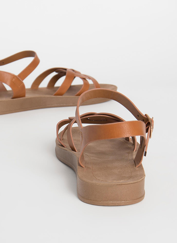 Sunday At The Park Ankle Strap Sandals TAN
