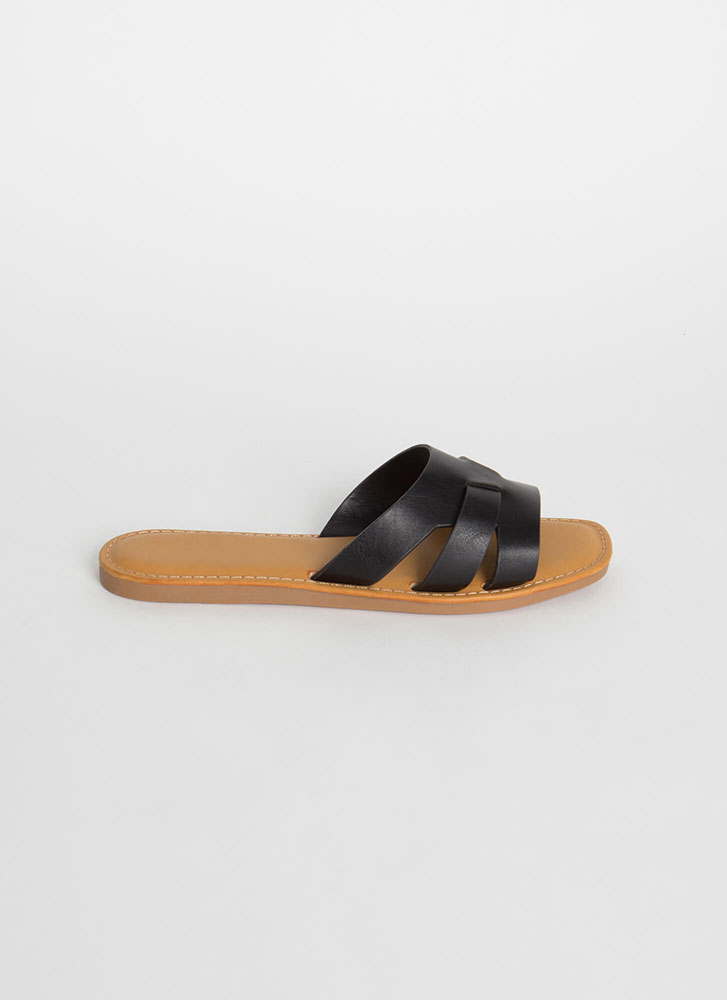 Beach Day Faux Leather Slide Sandals BLACK