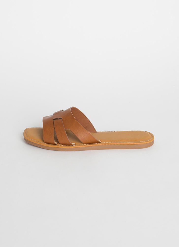 Beach Day Faux Leather Slide Sandals TAN