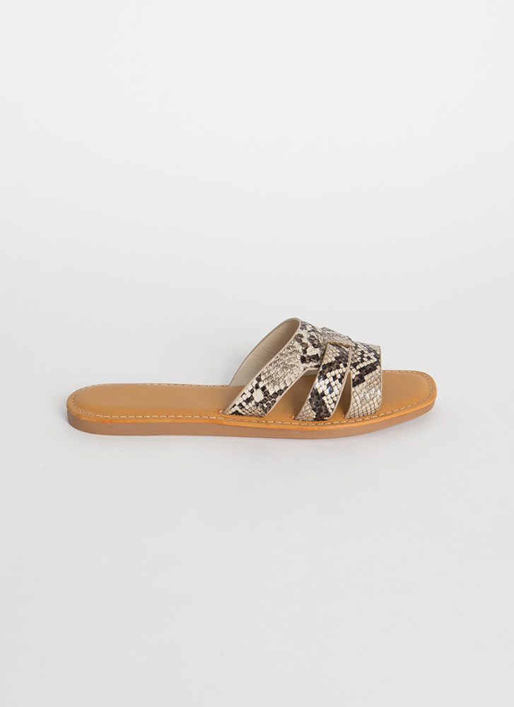 Beach Day Snake Print Slide Sandals BEIGE