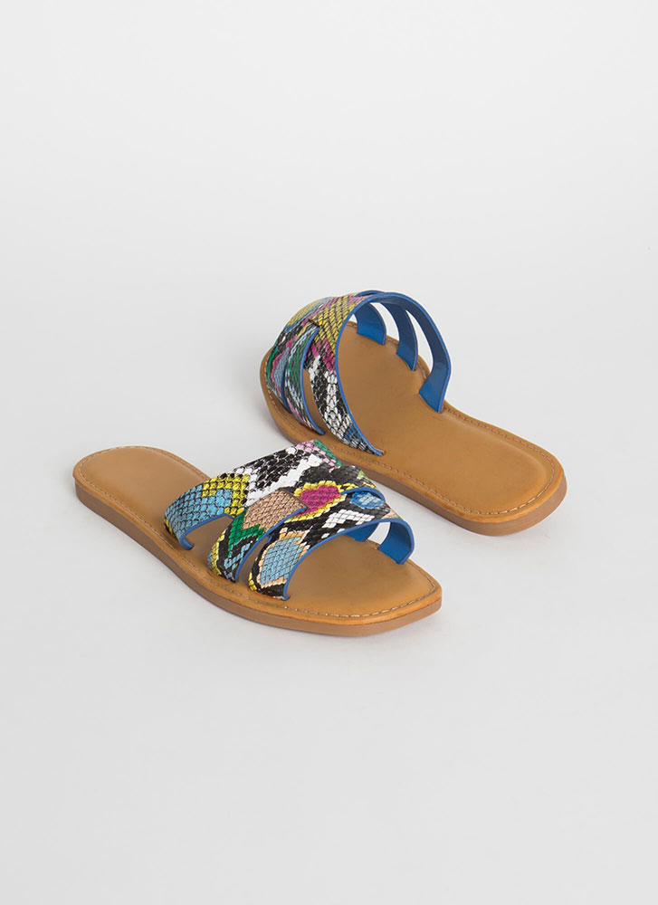Beach Day Snake Print Slide Sandals MULTI