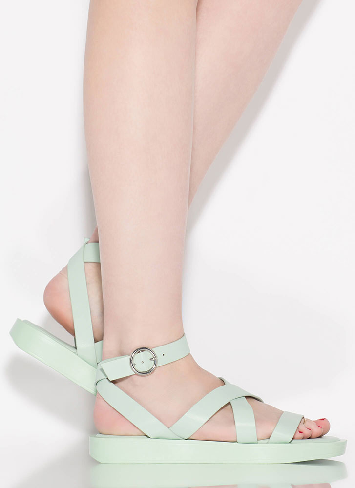 Away For The Weekend Strappy Sandals PISTACHIO