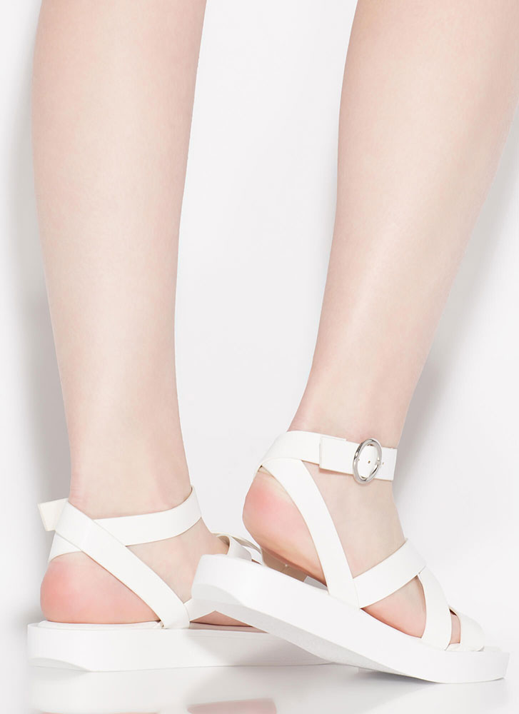 Away For The Weekend Strappy Sandals WHITE