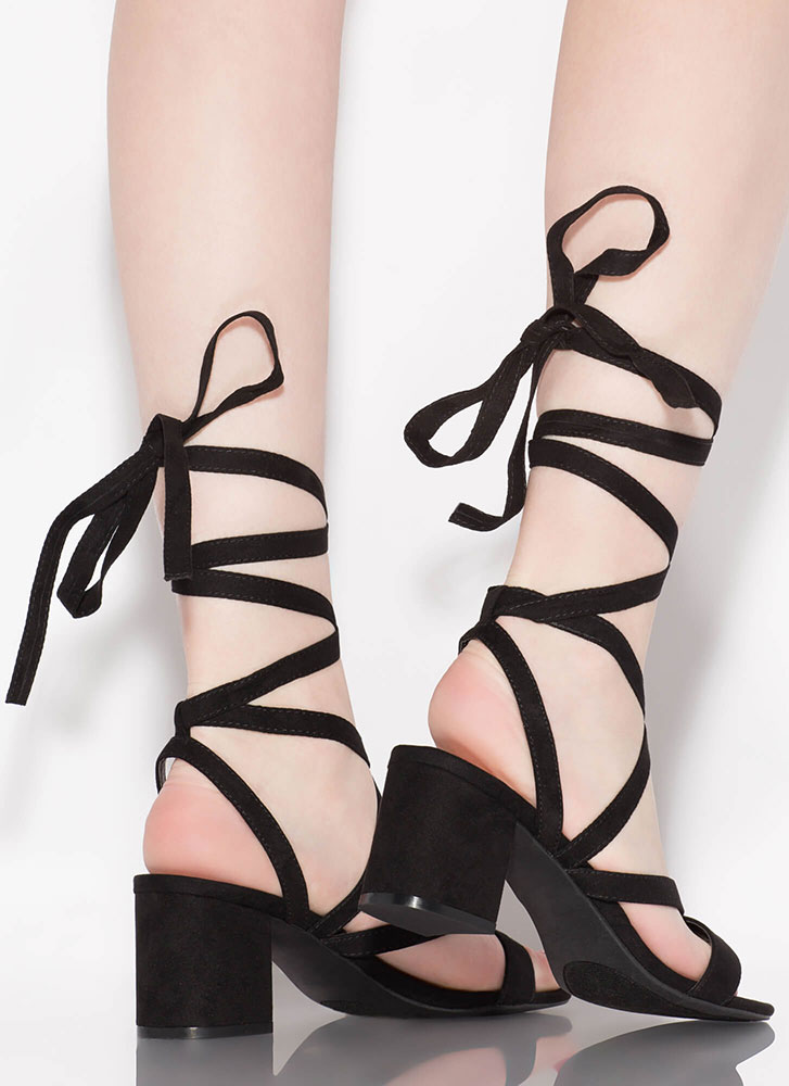 Living For Lace-Up Block Heels BLACK