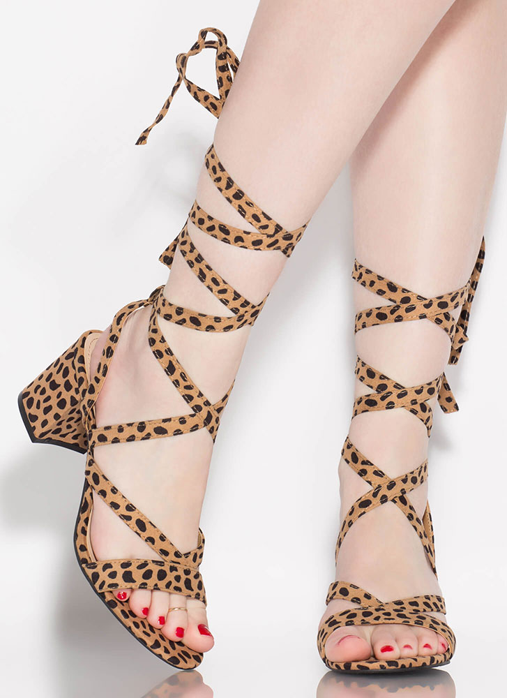 Living For Lace-Up Block Heels CHEETAH