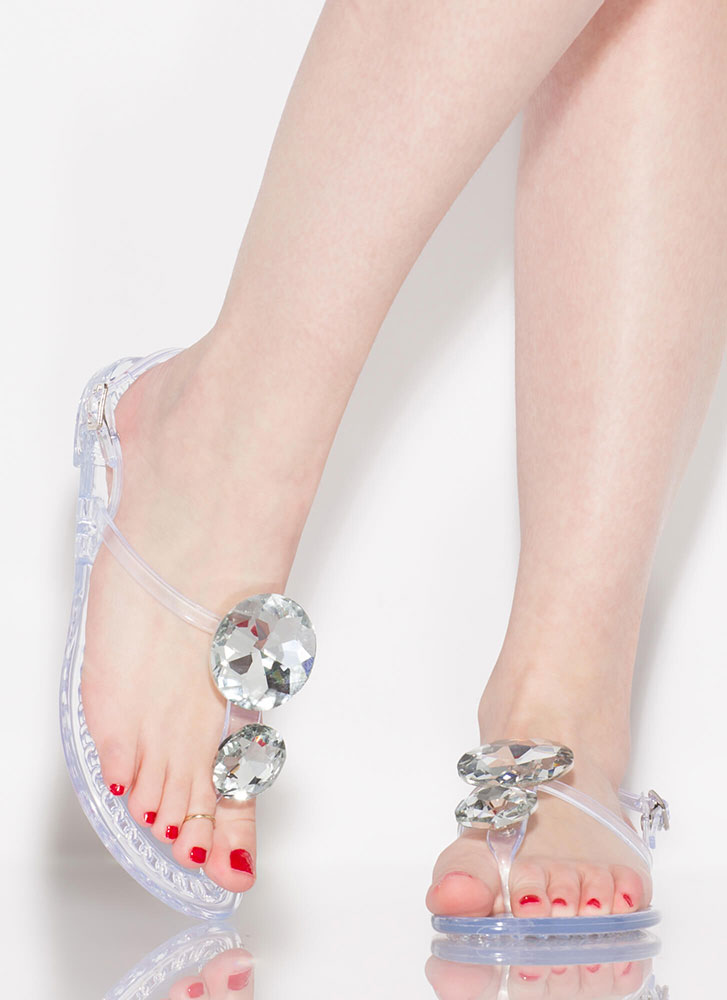 Crown Jewels Jelly T-Strap Sandals CLEAR