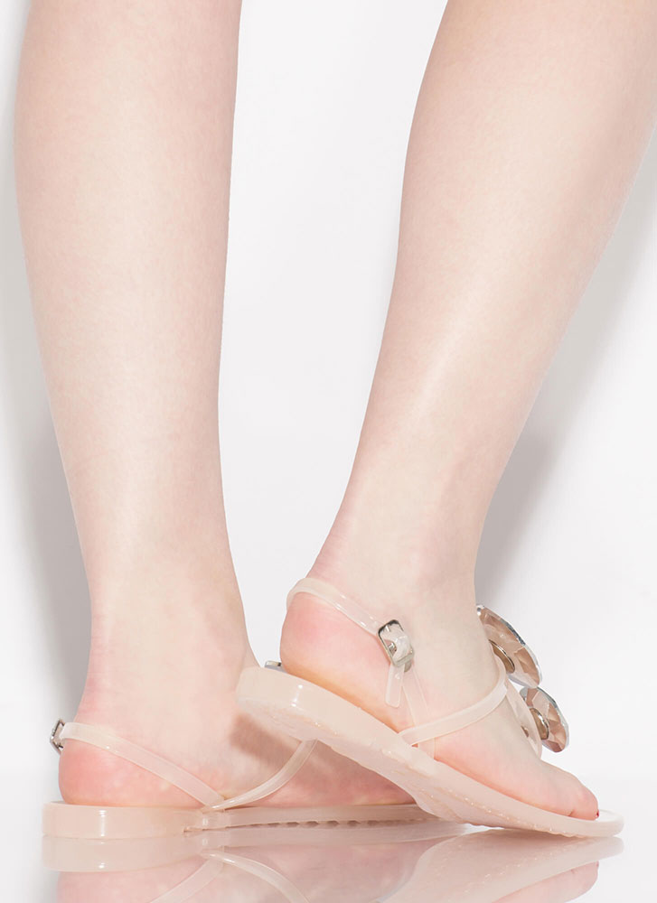Crown Jewels Jelly T-Strap Sandals NUDE