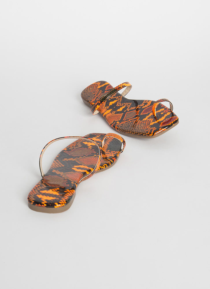 Sun's Out Toes Out Strappy Snake Sandals ORANGE
