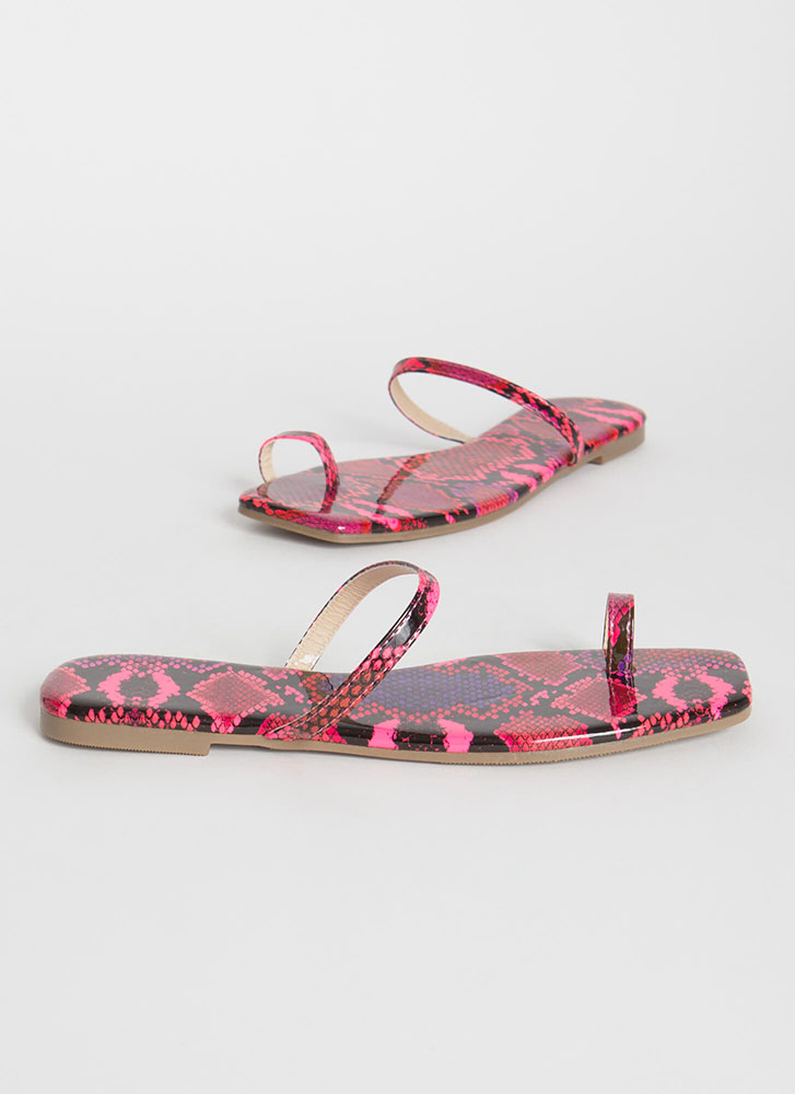 Sun's Out Toes Out Strappy Snake Sandals PINK