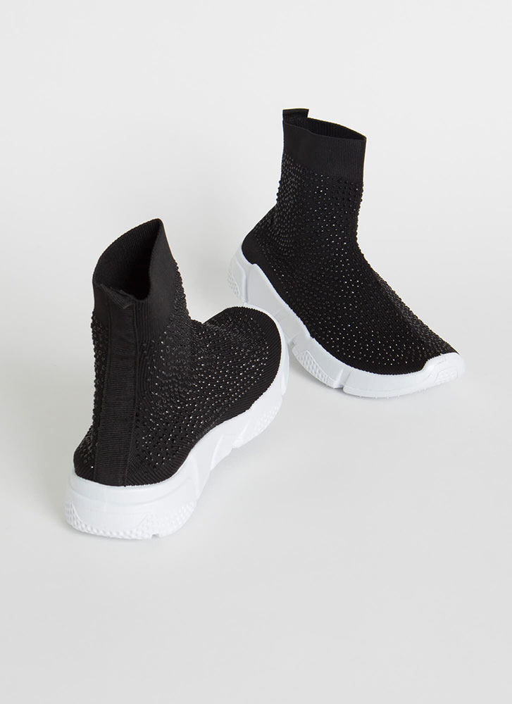 Runaway Winner Knit Jeweled Sneakers BLACK