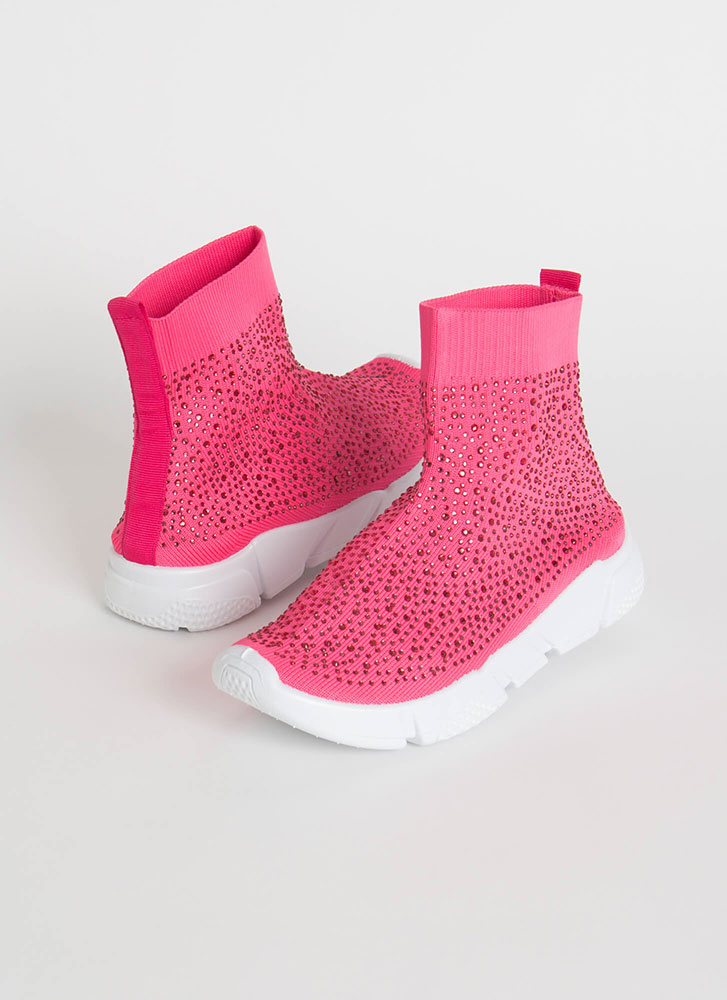 Runaway Winner Knit Jeweled Sneakers NEONPINK