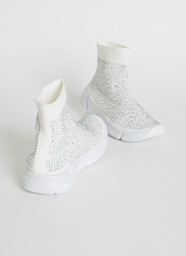 Runaway Winner Knit Jeweled Sneakers WHITE