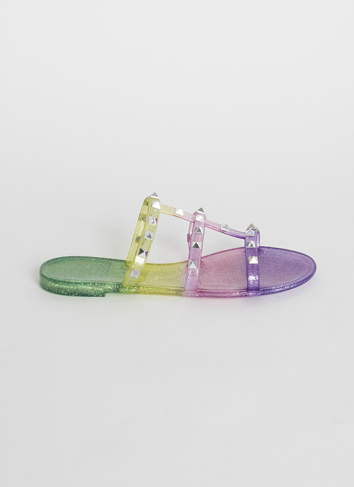 Sparkly Ombre Studded Jelly Sandals PURPLE