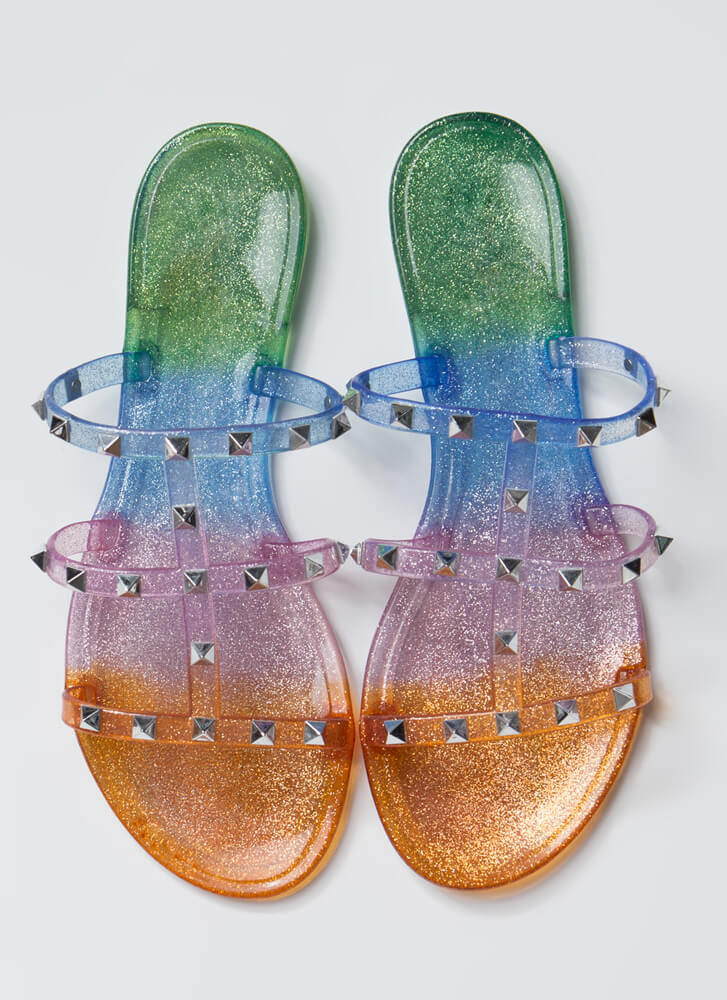 Sparkly Ombre Studded Jelly Sandals RED