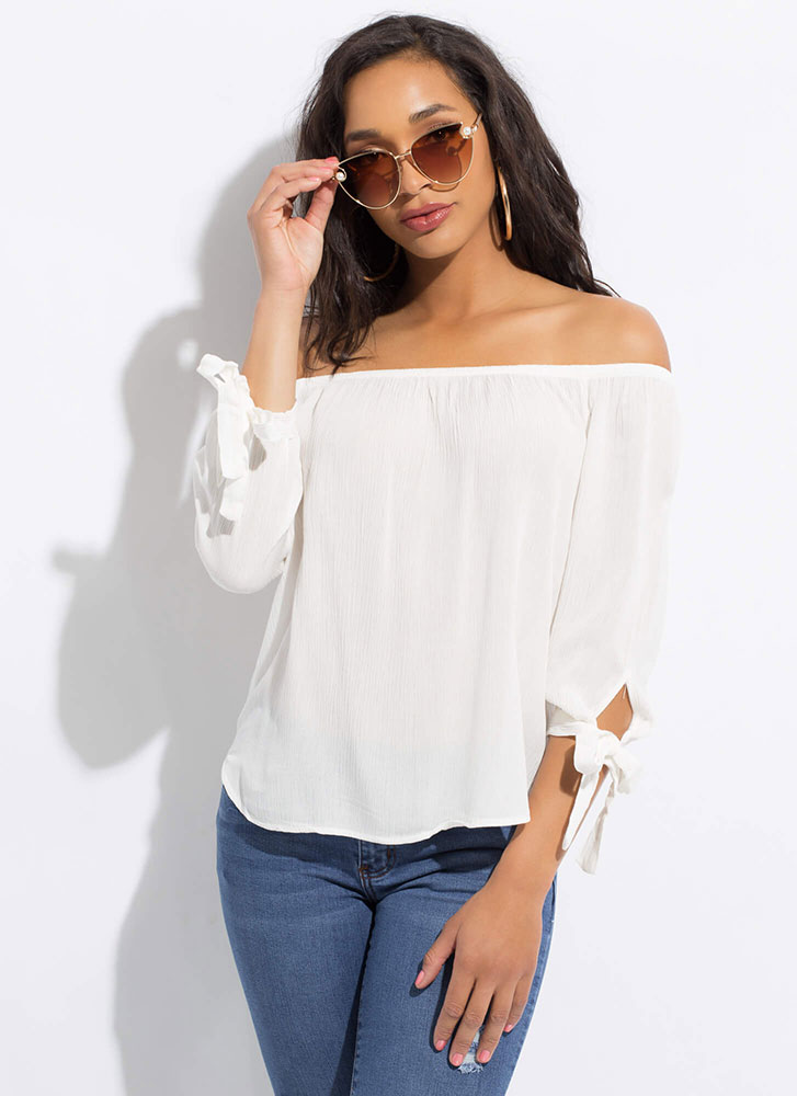 Ends In A Tie-Sleeve Off-Shoulder Top WHITE