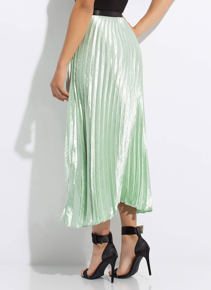 Flow Smoothly Pleated Satin Maxi Skirt MINT