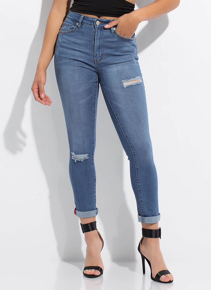 Give It To Me Straight-Leg Skinny Jeans MEDBLUE (Final Sale)