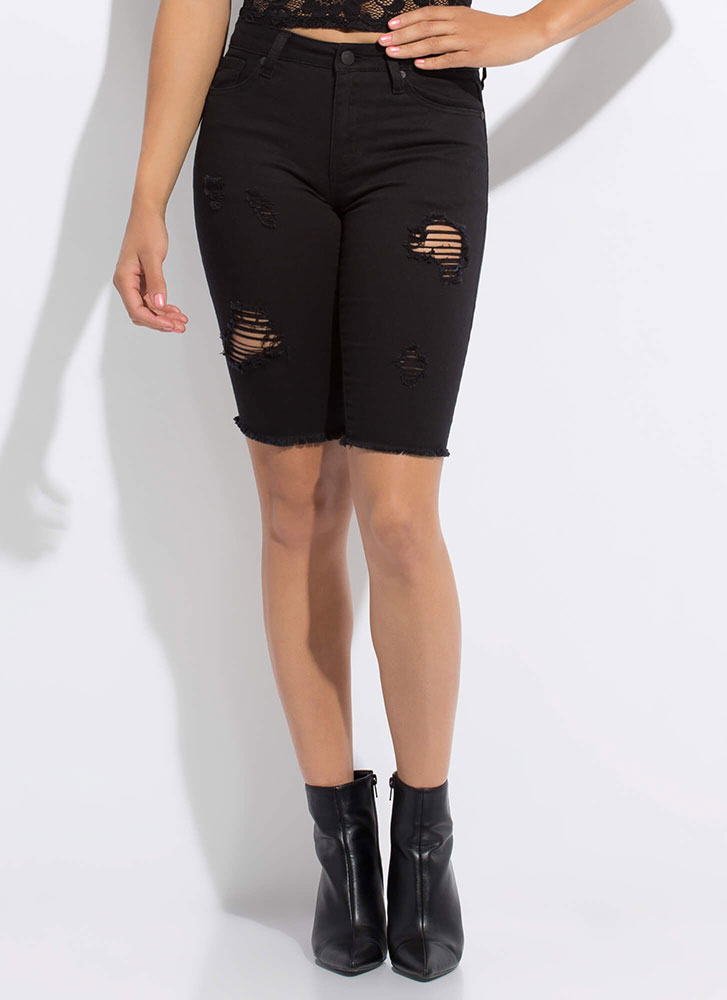 Distress Call Denim Bermuda Shorts BLACK