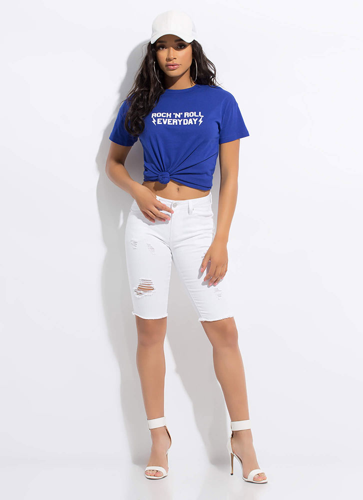 Distress Call Denim Bermuda Shorts WHITE