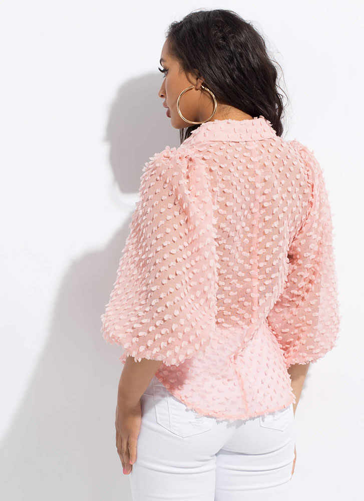 Pom-Pom Party Puff Sleeve Blouse PINK