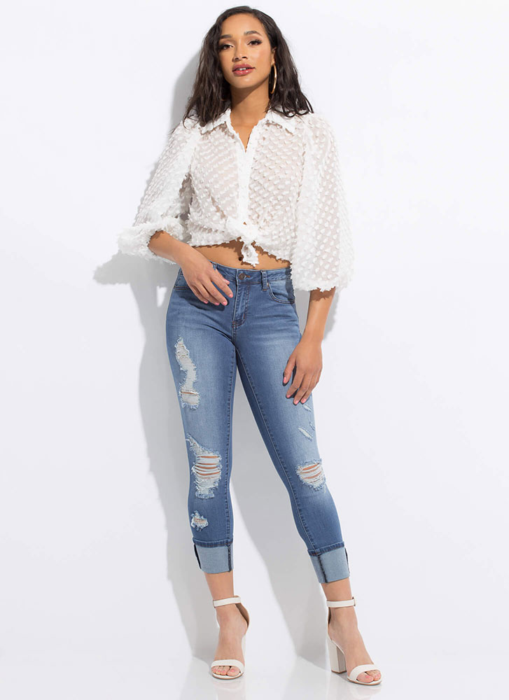 Pom-Pom Party Puff Sleeve Blouse WHITE