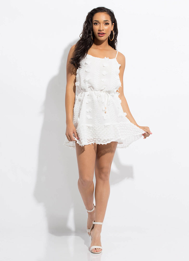 Fresh Flowers Tied Applique Minidress WHITE