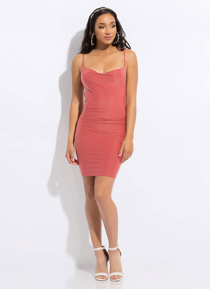 Our Special Night Cowl-Neck Dress PINK