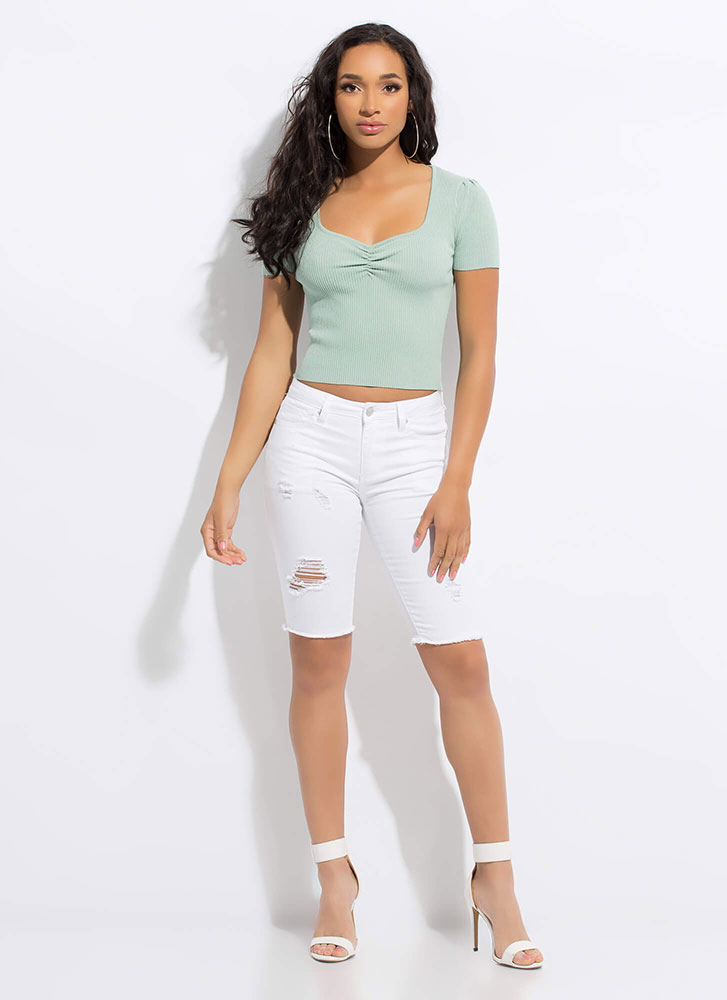 Pinch Me I'm Dreaming Ruched Ribbed Top MINT