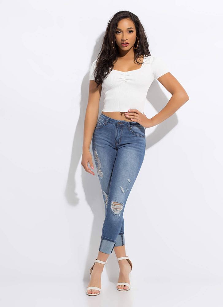 Pinch Me I'm Dreaming Ruched Ribbed Top WHITE