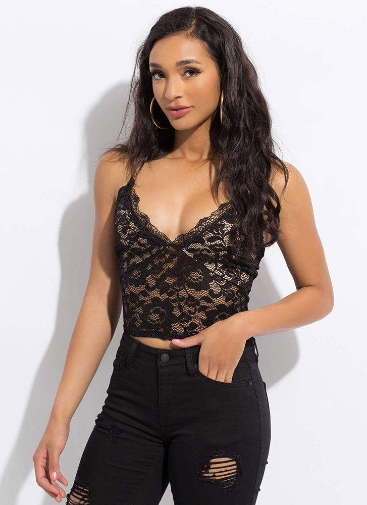Frilly And Flirty Floral Lace Tank Top BLACK