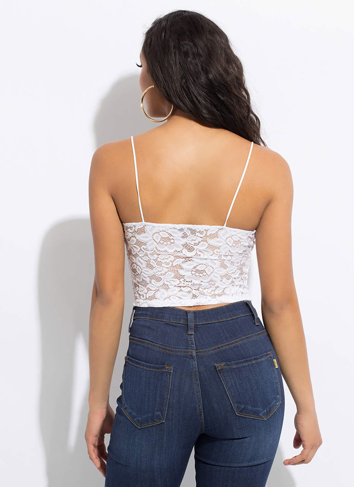 Frilly And Flirty Floral Lace Tank Top WHITE