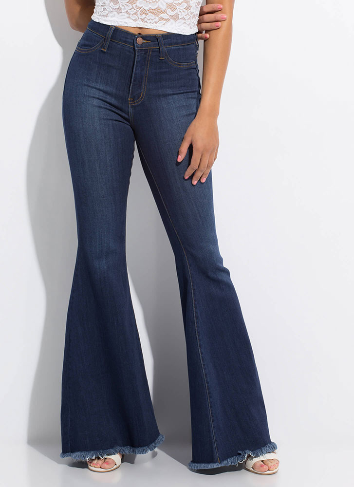 You're Cut-Off Fringed Bell-Bottom Jeans DKBLUE