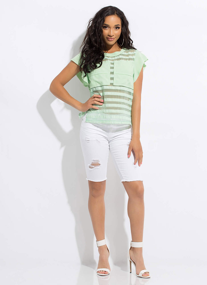 Something Different Sheer Striped Top MINT