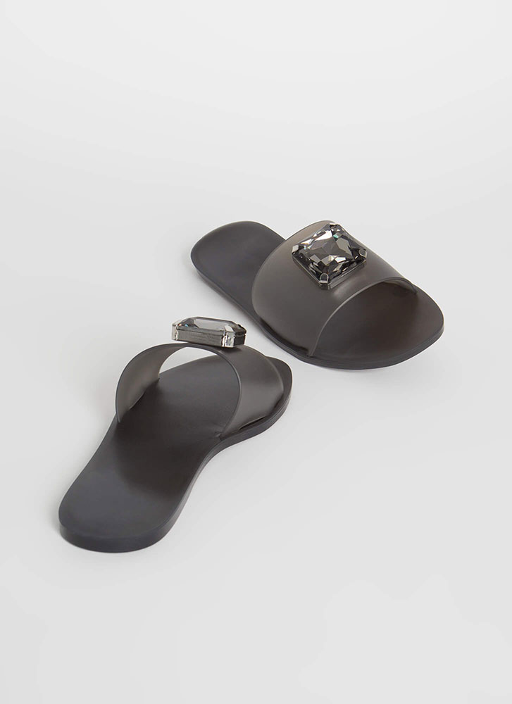 True Gem Jeweled Jelly Slide Sandals BLACK