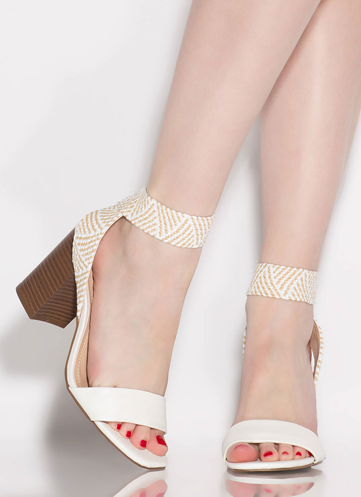 Naturally Chic Woven Strap Chunky Heels WHITE