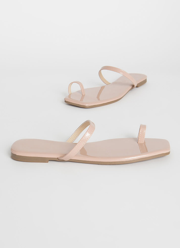Sun's Out Toes Out Skinny Strap Sandals NUDE
