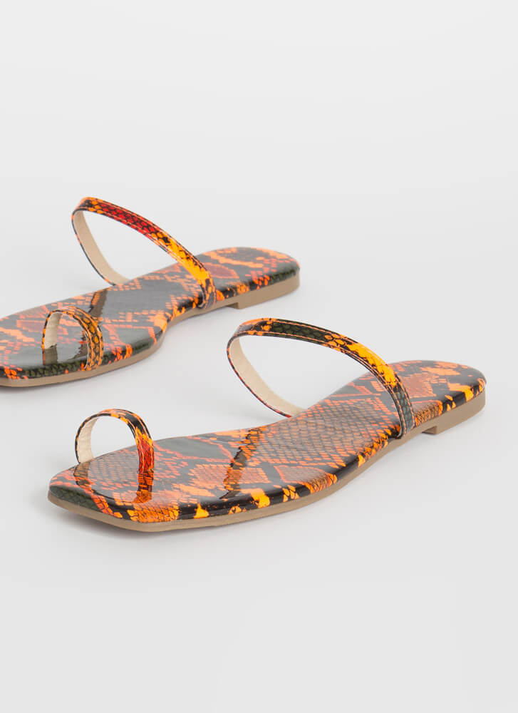 Sun's Out Toes Out Skinny Strap Sandals ORANGE